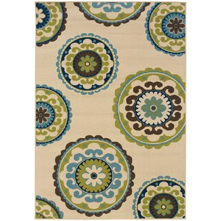 Carson Carrington Assentoft Medallion Indoor/ Outdoor Area Rug (Ivory/Green - 19 x 39)