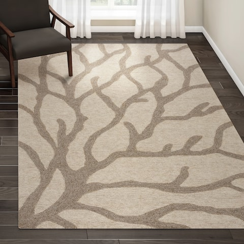 "Porch & Den Leavenworth Indoor/ Outdoor Abstract White/ Grey Area Rug - 7'6"" x 9'6"""