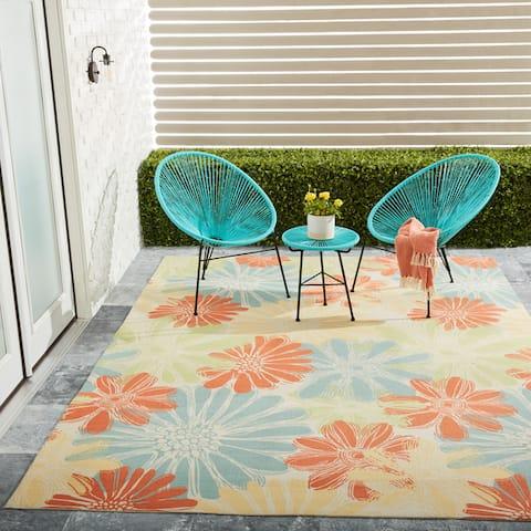 Ogunquit Indoor/Outdoor Abstract Floral Modern Rug by Havenside Home