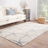 The Curated Nomad Posas Handmade Starfish White/ Blue Area Rug - 8' x 11'