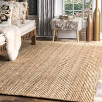 Havenside Home La Jolla Eco Natural Fiber Braided Reversible Jute Area Rug (8' round) - 8' x 8'