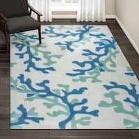 Havenside Home Knotts Handmade Abstract White/ Blue Area Rug