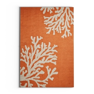 "Havenside Home Saint Michaels Indoor/ Outdoor Floral Orange/ Taupe Area Rug - 3'6"" x 5'6"""