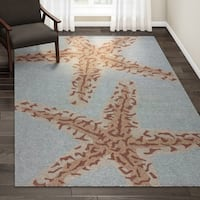 Havenside Home New Castle Indoor/ Outdoor Animal Blue/ Brown Area Rug - 7'6 x 9'6