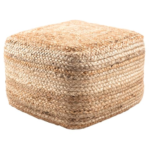 The Curated Nomad Camarillo Modern Beige Cube Shape Jute Pouf