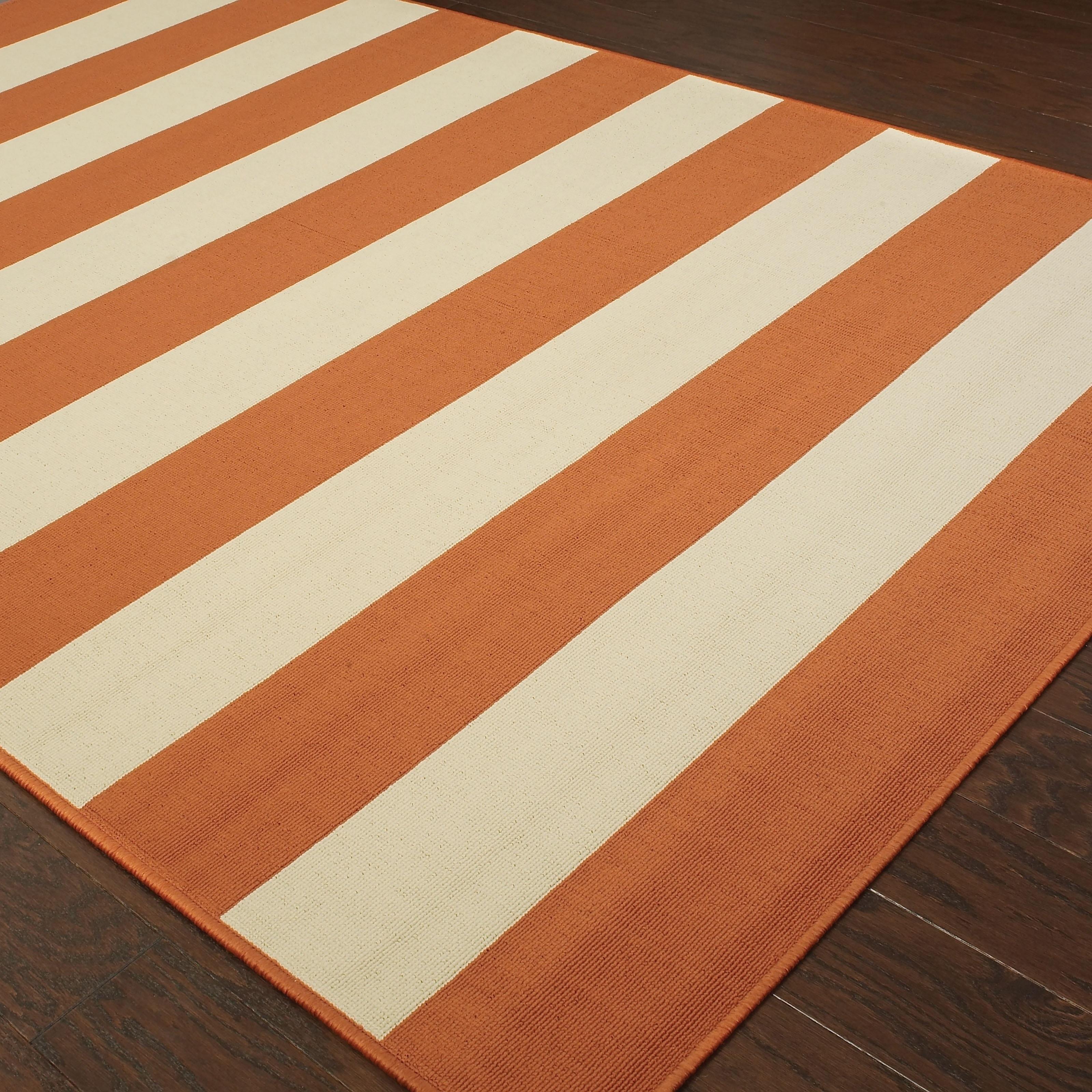 Momeni Baja Orange Cream Indoor Outdoor Area Rug For Sale Online Ebay