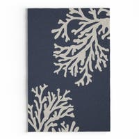 Havenside Home Saint Michaels Indoor/ Outdoor Floral Navy/ Cream Area Rug - 2' x 3'