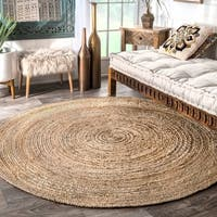Havenside Home La Jolla Eco Natural Fiber Braided Reversible Round Jute Area Rug - 4'