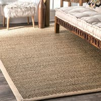 Havenside Home Clearwater Handmade Natural Fiber Cotton Border Seagrass Beige Area Rug - 4' x 6'