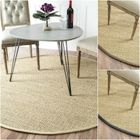 Havenside Home Clearwater Handmade Natural Fiber Cotton Border Seagrass Area Rug - 8' Round