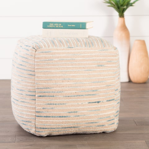 The Curated Nomad Pajaro Handmade Pattern Wool Blue Pouf