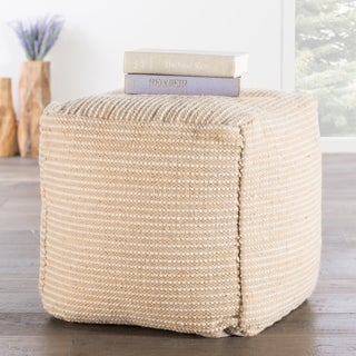 The Curated Nomad Pajaro Handmade Pattern Wool Tan Pouf