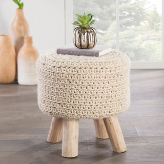 The Curated Nomad Tunis Solid Pattern Bleached sand Wool 16-inch Pouf
