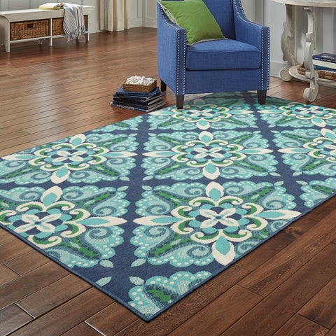 Havenside Home Lewisburg Medallion Blue/ Green Indoor-Outdoor Area Rug - 7'10 x 10'10