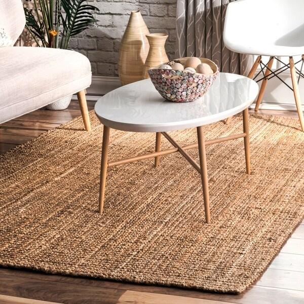 Havenside Home Pensacola Hand-woven Natural Fiber Jute Sisal Ribbed Solid Natural Area Rug - 7'6 x 9'