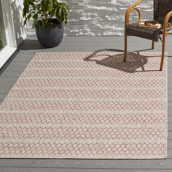 The Curated Nomad Claremont Indoor/ Outdoor Havannah Geometric Area Rug - 7'10 x 10'9
