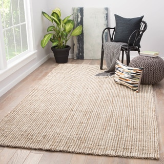 Strick & Bolton Siah Solid White/ Tan Natural Jute Area Rug - 10' x 14'