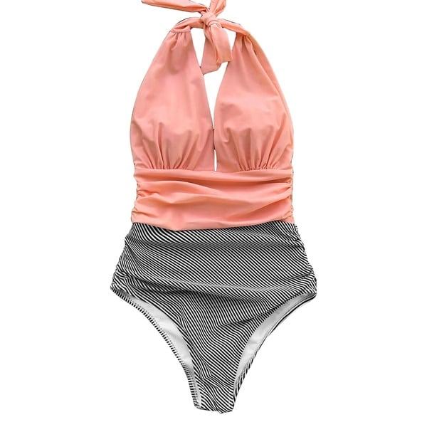 22ac06feb6 Shop Cupshe Women's Stripe Printing Deep V Neck Halter One Piece Swimsuit  High-waisted Bikini Beach Swimwear Monokini - Free Shipping On Orders Over  $45 ...