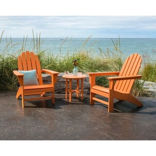 POLYWOOD Vineyard 3-Piece Outdoor Adirondack Chair Set with Table