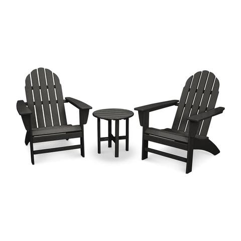 POLYWOOD® Vineyard 3-piece Outdoor Adirondack Chair and Table Set