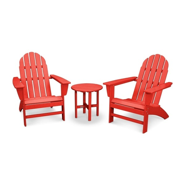 POLYWOOD Vineyard 3 Piece Outdoor Adirondack Chair Set With Table