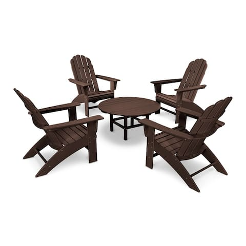 POLYWOOD Vineyard 5-Piece Outdoor Oversized Adirondack Chair and Table Set