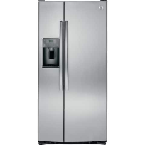GE 23.2 Cu. Ft. Side-By-Side Refrigerator in stainless steel