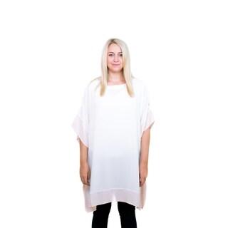 Le Nom Spring and Summer Fashion Color Border Cold Shoulder Caftan Poncho Blouse (Option: peach)