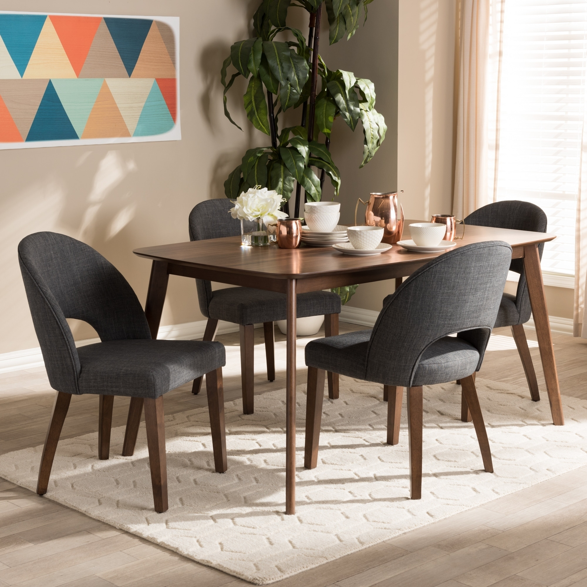 Mid-Century Fabric Upholstered 5-Piece Dining Set by Baxton Studio & Buy Upholstered Kitchen \u0026 Dining Room Sets Online at Overstock | Our ...
