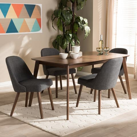 Mid-Century Fabric Upholstered 5-Piece Dining Set by Baxton Studio