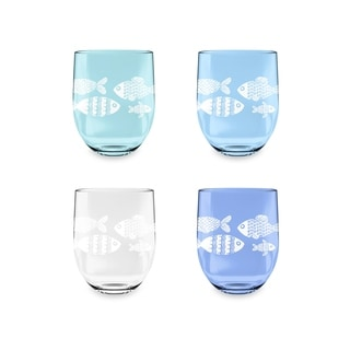 16 Oz Nautical Set Of 4 Etched Stemless Wine