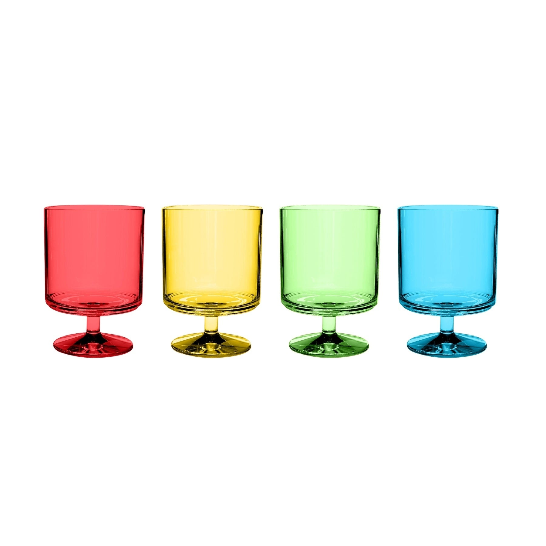 Yellow Red Blue /& Green NEW SET of 4 Plastic//Acrylic Stackable Wine Glasses