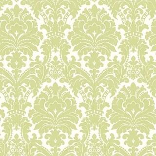 Ginger Green Brocade Damask Wallpaper