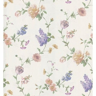 Mabel Pastel Large Rose Trail Wallpaper