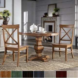 Eleanor Oak Finish Wood 3 Piece Round Table X Back Dining Set By INSPIRE