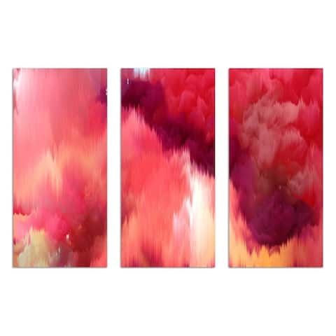 Oliver Gal 'Vivanti Triptych' Abstract Wall Art Canvas Print - Red, Orange