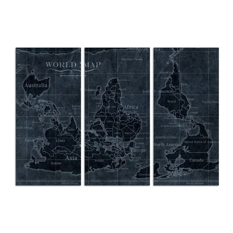 Oliver Gal 'Upside-down Map of the World Noir Triptych' Maps and Flags Wall Art Canvas Print - Blue, White