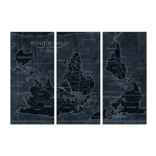 Oliver Gal 'Upside-down Map of the World Noir Triptych' Maps and Flags Wall Art Canvas Print - Blue, White - 17 x 36 x 3 Panels