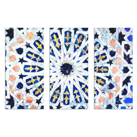 Oliver Gal 'Azahar Triptych' Abstract Wall Art Canvas Print - Gray, Blue