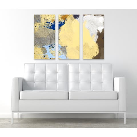 Oliver Gal 'Number 8 Triptych' Abstract Wall Art Canvas Print - Yellow, Brown