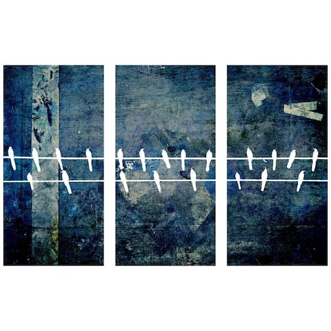Oliver Gal 'Enjoying Their Day Triptych' Abstract Wall Art Canvas Print - Blue, White