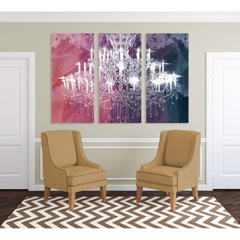 Oliver Gal 'Ethereal Vision TRIPTYCH' Fashion and Glam Wall Art Canvas Print - White, Pink - 17 x 36 x 3 Panels