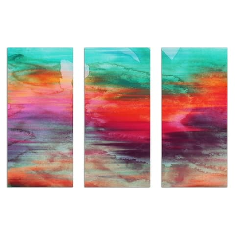 Oliver Gal 'Rallentando Triptych' Abstract Wall Art Canvas Print - Green, Orange