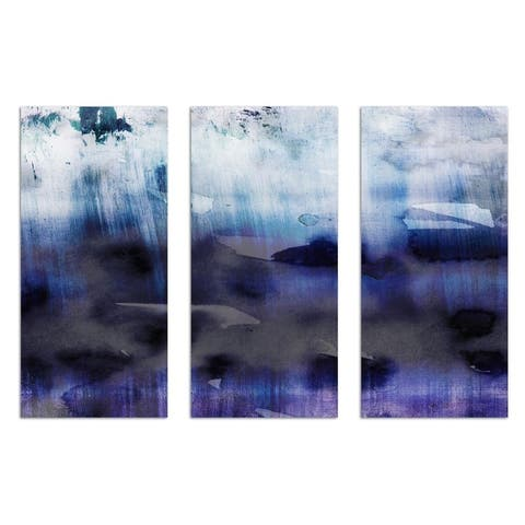 Oliver Gal 'Agitato Triptych' Abstract Wall Art Canvas Print - Blue, Blue