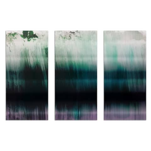 Oliver Gal 'Tritone Triptych' Abstract Wall Art Canvas Print - Green, White