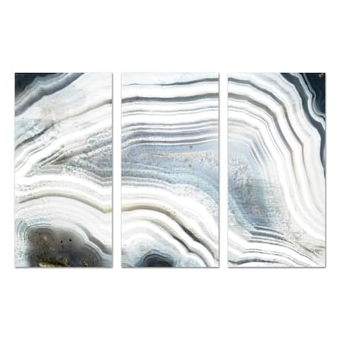 Oliver Gal 'Marea Agate Triptych' Abstract Wall Art Canvas Print - White, Black