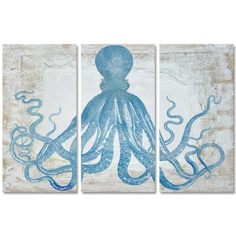 Oliver Gal 'Squid Blue Triptych' Nautical and Coastal Wall Art Canvas Print - Blue, White
