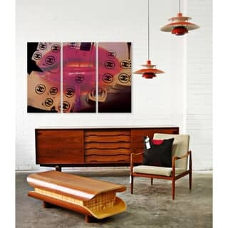 Oliver Gal 'That's Her triptych' Fashion and Glam Wall Art Canvas Print - Pink, White - 17 x 36 x 3 Panels