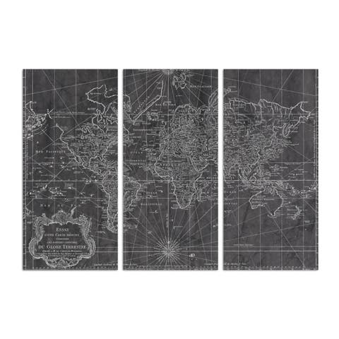 Oliver Gal 'World Map 1778 triptych' Maps and Flags Wall Art Canvas Print - Black, White - 17 x 36 x 3 Panels