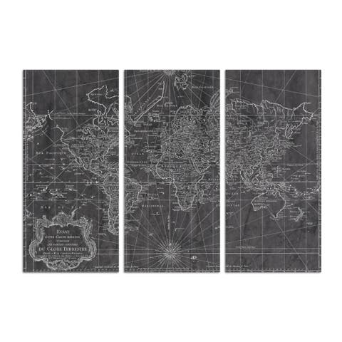 Oliver Gal 'World Map 1778 triptych' Maps and Flags Wall Art Canvas Print - Black, White